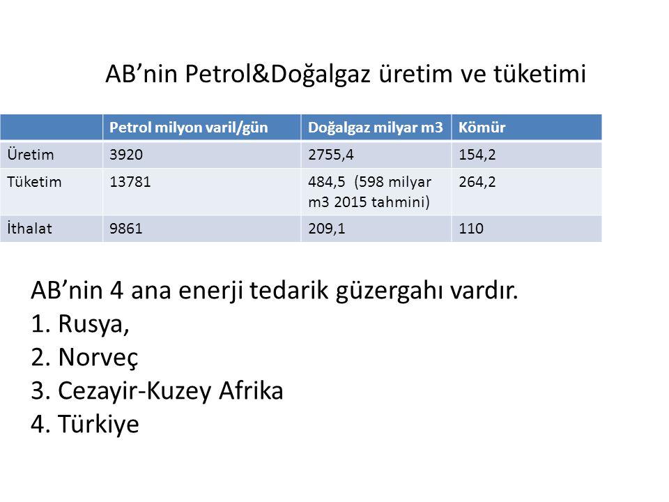 AB'nin 4 ana enerji tedarik güzergahı vardır. 1. Rusya, 2. Norveç 3. Cezayir-Kuzey Afrika 4. Türkiye Petrol milyon varil/günDoğalgaz milyar m3Kömür Ür
