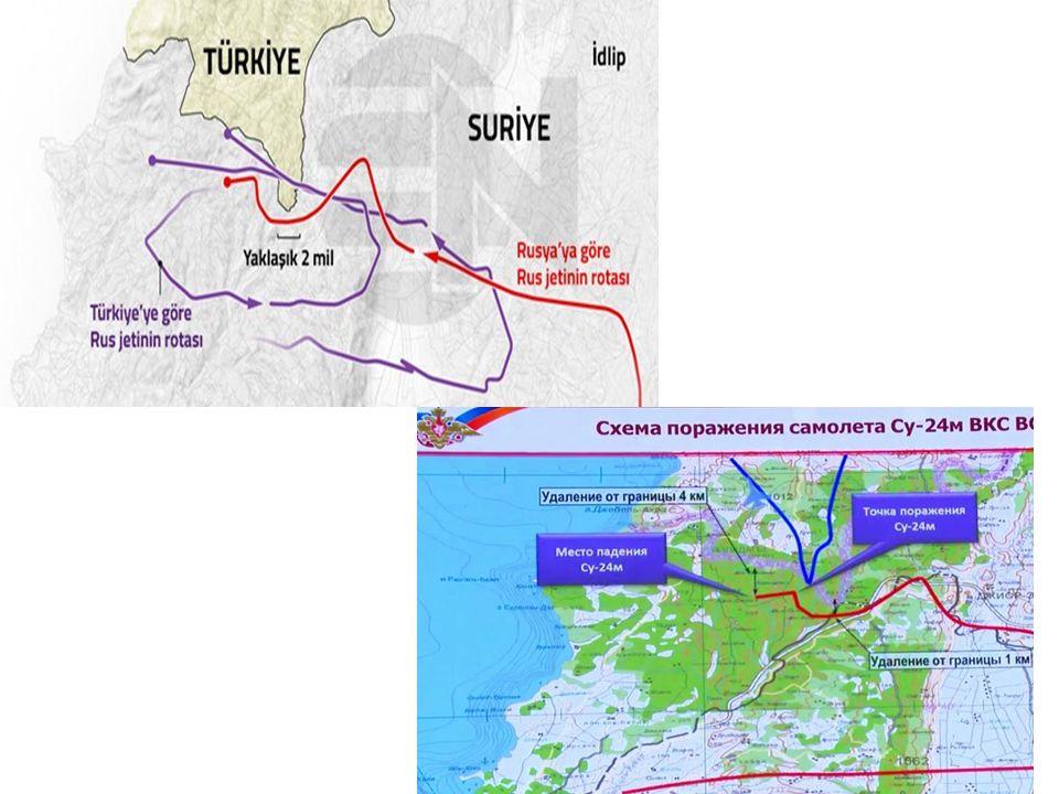 Rus tarafının iddiaları ve Tedbirleri Terör destekçileri Putin: Terör destekçileri tarafından sırtımızdan bıçaklandık Yaptırım Kararları alındı: Turizm şirketlerinin rezervasyonlarını iptal etmesi, Türk tarım ürünlerine ambargo uygulanması (1 Ocak 2016'dan itibaren yürürlükte) Türk inşaat şirketlerinin yeni projeler alınmasının yasaklanması Vizesiz geçişlerin kaldırılması Kırmızı Hattı Askıya aldı.