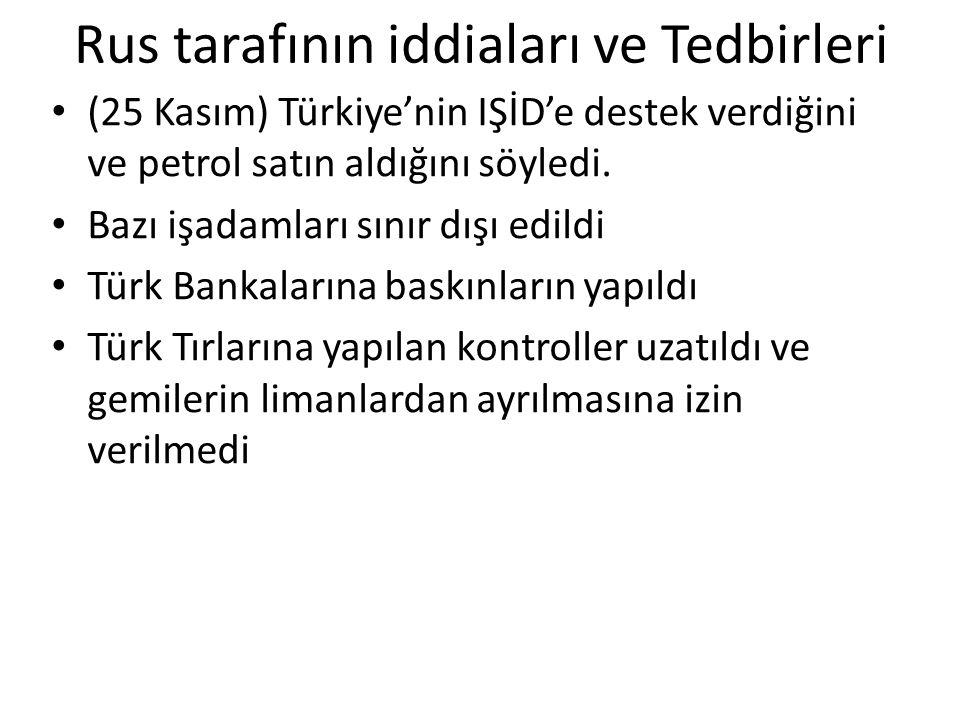 Rus tarafının iddiaları ve Tedbirleri (25 Kasım) Türkiye'nin IŞİD'e destek verdiğini ve petrol satın aldığını söyledi. Bazı işadamları sınır dışı edil