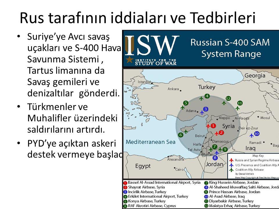 Rus tarafının iddiaları ve Tedbirleri Suriye'ye Avcı savaş uçakları ve S-400 Hava Savunma Sistemi, Tartus limanına da Savaş gemileri ve denizaltılar g
