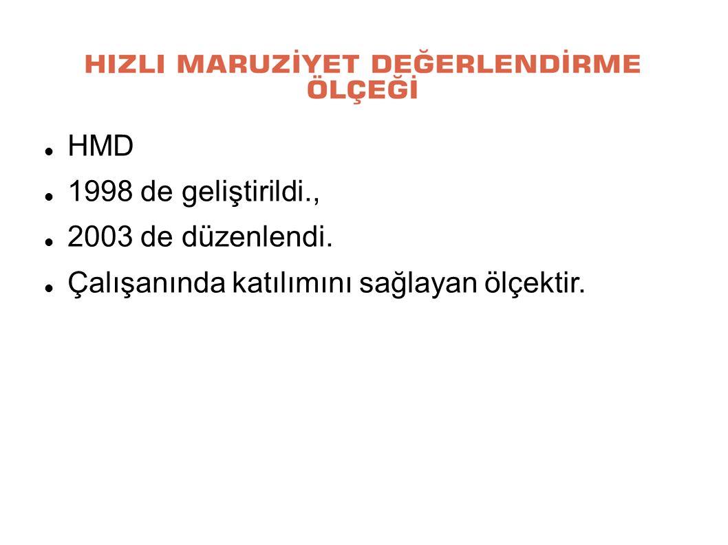 HMD 1998 de geliştirildi., 2003 de düzenlendi. Çalışanında katılımını sağlayan ölçektir.