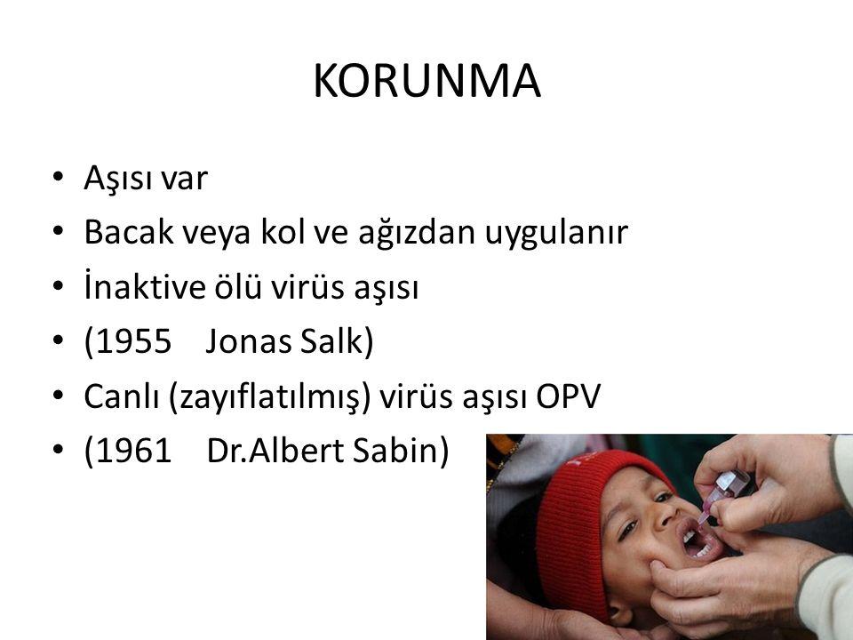 KORUNMA Aşısı var Bacak veya kol ve ağızdan uygulanır İnaktive ölü virüs aşısı (1955 Jonas Salk) Canlı (zayıflatılmış) virüs aşısı OPV (1961 Dr.Albert
