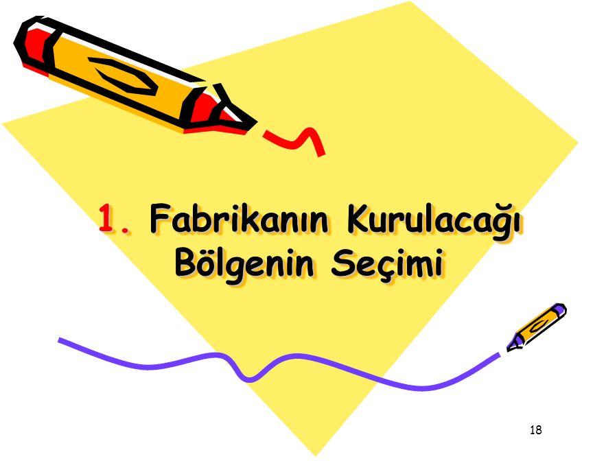 18 1. Fabrikanın Kurulacağı Bölgenin Seçimi
