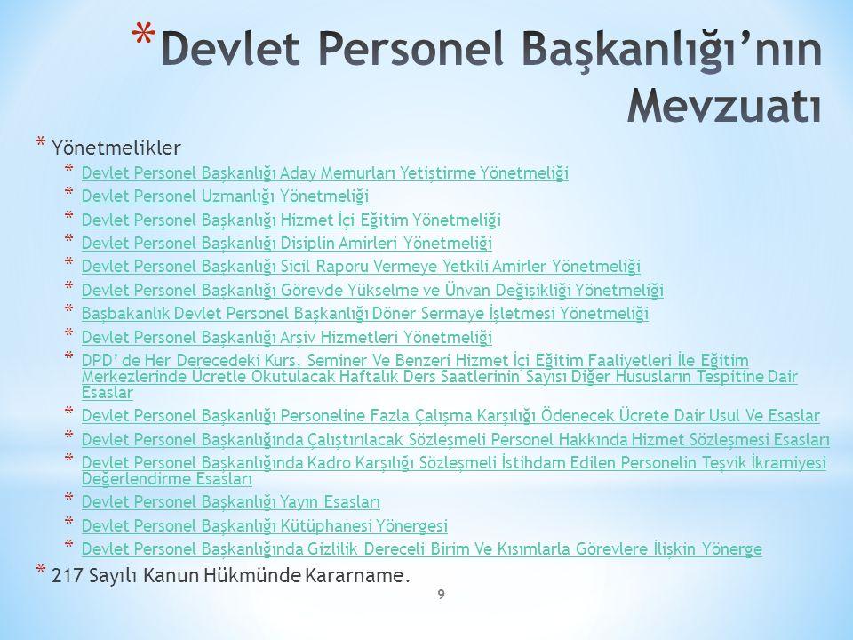 9 * Yönetmelikler * Devlet Personel Başkanlığı Aday Memurları Yetiştirme Yönetmeliği Devlet Personel Başkanlığı Aday Memurları Yetiştirme Yönetmeliği