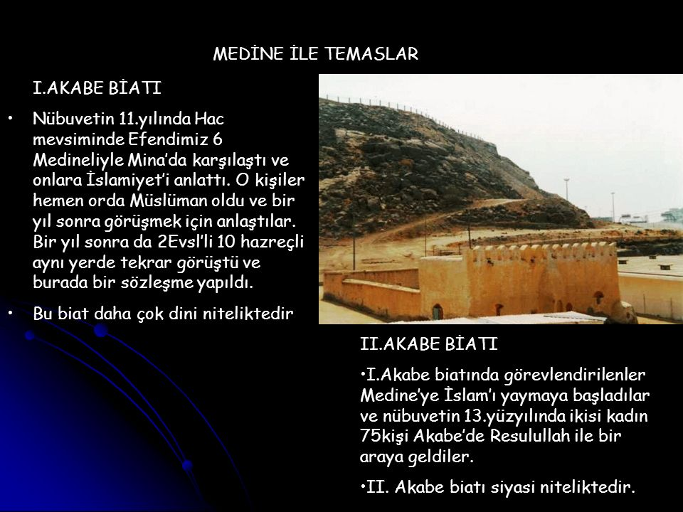 MEDİNE İLE TEMASLAR I.AKABE BİATI Nübuvetin 11.yılında Hac mevsiminde Efendimiz 6 Medineliyle Mina'da karşılaştı ve onlara İslamiyet'i anlattı. O kişi