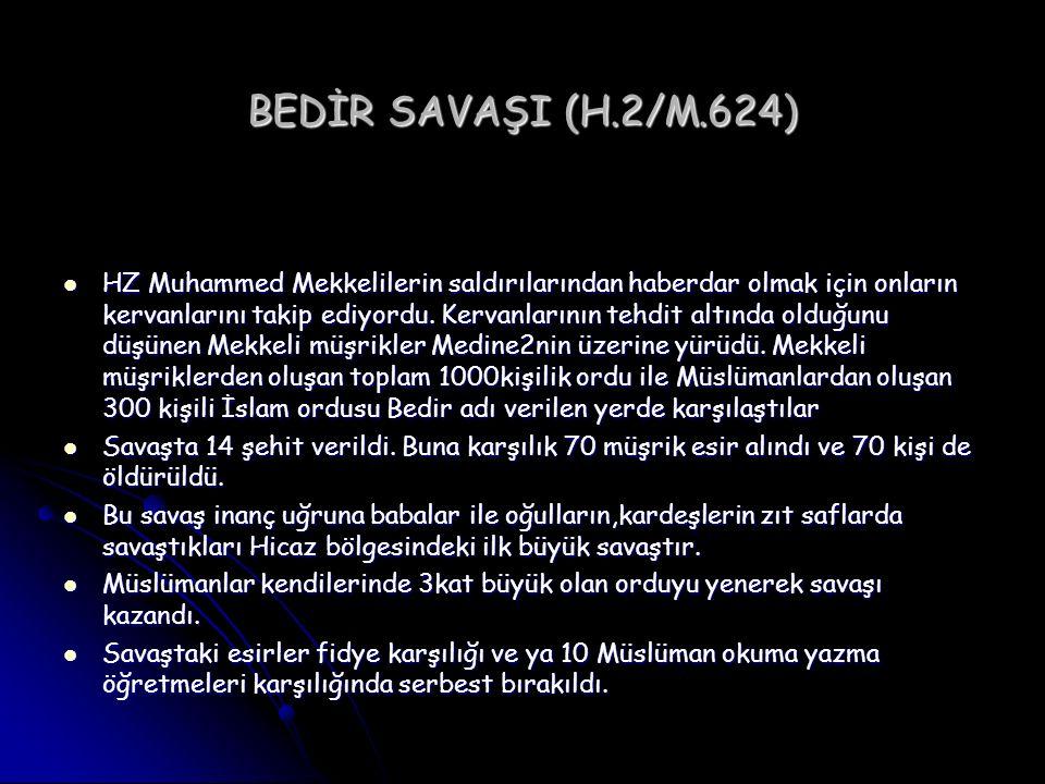 BEDİR SAVAŞI (H.2/M.624) HZ Muhammed Mekkelilerin saldırılarından haberdar olmak için onların kervanlarını takip ediyordu. Kervanlarının tehdit altınd