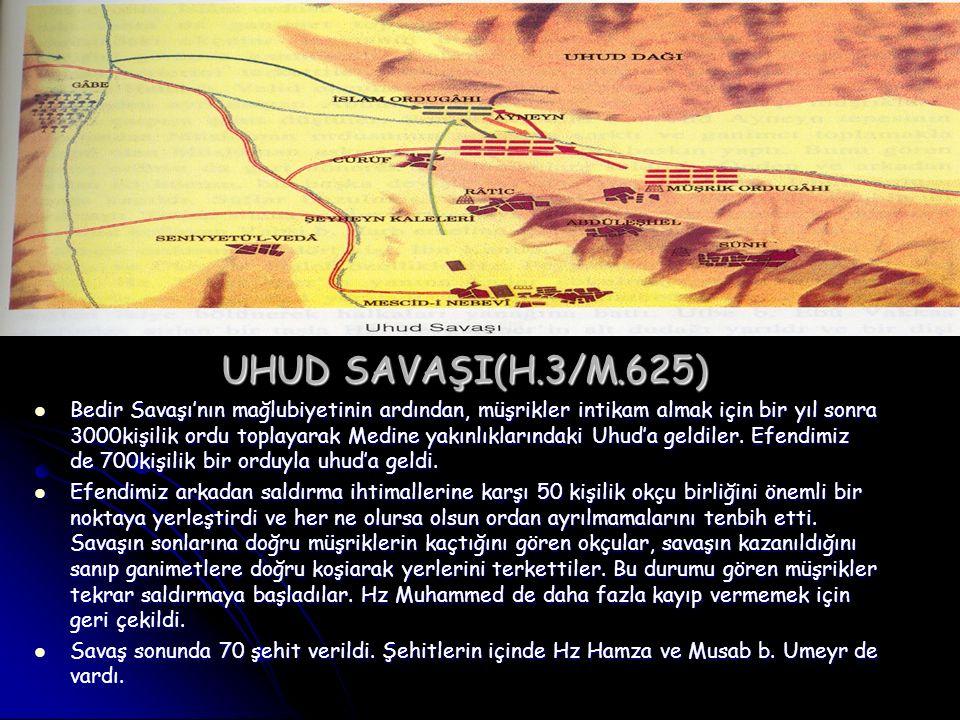 UHUD SAVAŞI(H.3/M.625) Bedir Savaşı'nın mağlubiyetinin ardından, müşrikler intikam almak için bir yıl sonra 3000kişilik ordu toplayarak Medine yakınlı