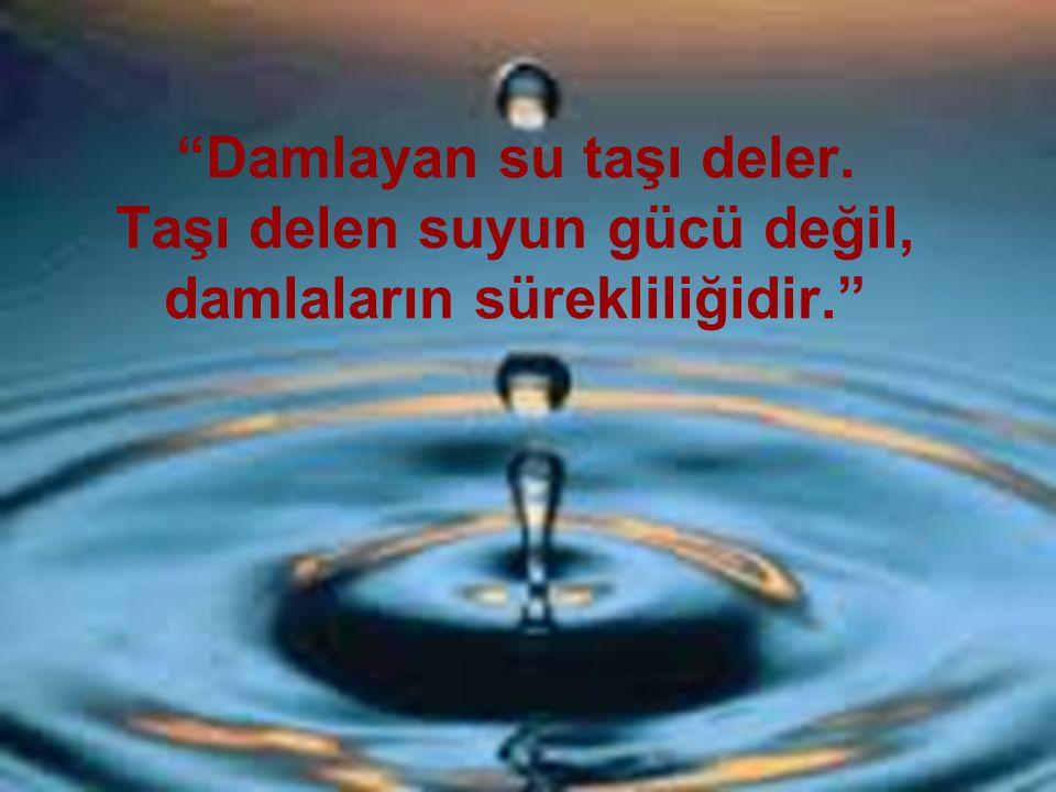 """""""Damlayan su taşı deler. Taşı delen suyun gücü değil, damlaların sürekliliğidir."""""""