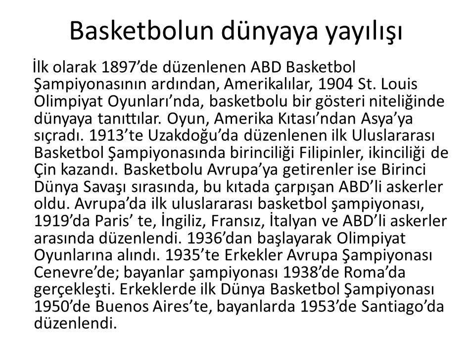 Basketbolun dünyaya yayılışı İlk olarak 1897'de düzenlenen ABD Basketbol Şampiyonasının ardından, Amerikalılar, 1904 St.