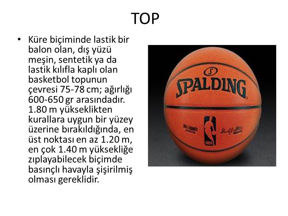 TOP Küre biçiminde lastik bir balon olan, dış yüzü meşin, sentetik ya da lastik kılıfla kaplı olan basketbol topunun çevresi 75-78 cm; ağırlığı 600-650 gr arasındadır.