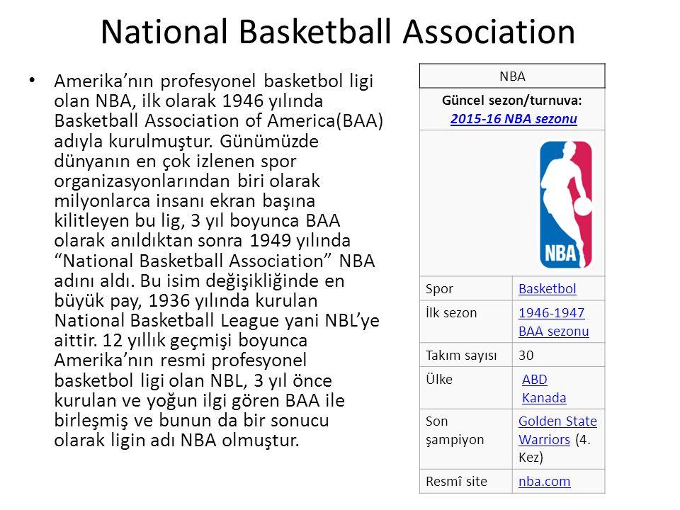 National Basketball Association Amerika'nın profesyonel basketbol ligi olan NBA, ilk olarak 1946 yılında Basketball Association of America(BAA) adıyla kurulmuştur.