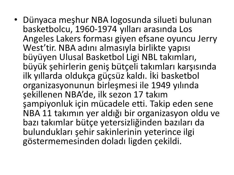 Dünyaca meşhur NBA logosunda silueti bulunan basketbolcu, 1960-1974 yılları arasında Los Angeles Lakers forması giyen efsane oyuncu Jerry West'tir.