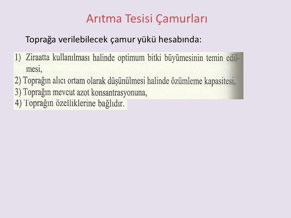 Arıtma Tesisi Çamurları Toprağa verilebilecek çamur yükü hesabında: