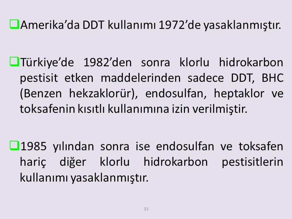 33  Amerika'da DDT kullanımı 1972'de yasaklanmıştır.