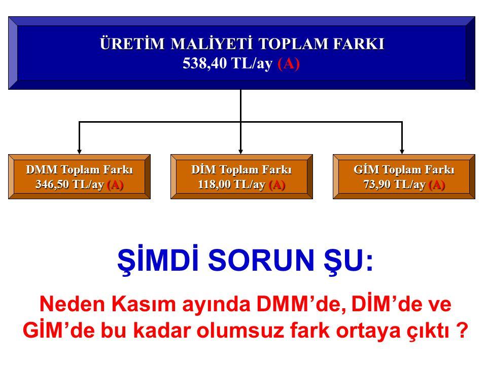 DMM Farkı 3.174,50 TL/ay - 2.828,00 TL/ay = 346,50 TL/ay (A) DİM Farkı 1.153,00 TL/ay - 1.035,00 TL/ay = 118,00 TL/ay (A) GİM Farkı 1.888,90 TL/ay - 1
