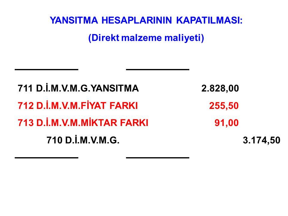 ÖRNEK (DMM Fiyat Farkı): İşletmenin Kasım ayı fiili DMM bilgileri şöyledir: (1 EGM) A için Fiyat Farkı: = (1.99 TL/kg – 1.82 TL/kg) x 1050 kg/ay = 178