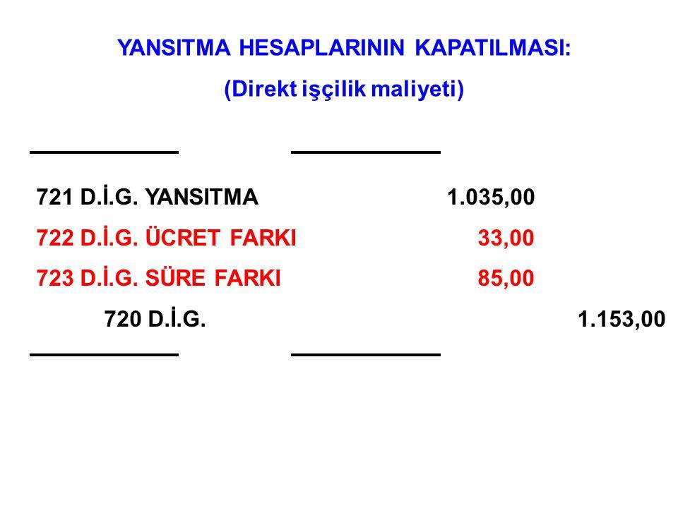 ÖRNEK (DİM Ücret Farkı): İşletmenin Kasım ayı fiili DİM bilgileri şöyledir: (1 EGM) Op.010 için Ücret Farkı: = (3.00 TL/DİS – 3.00 TL/DİS) x 190 DİS/a