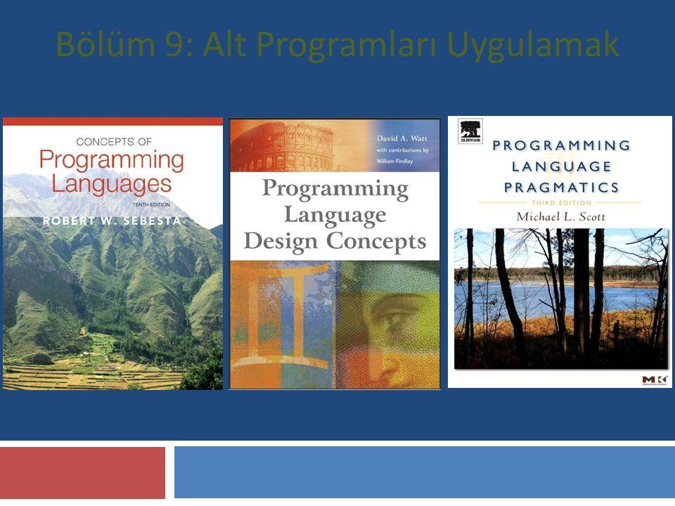Bölüm'ün Başlıkları  Arama ve geri dönüşlerin genel anlamı  ''Basit'' alt programların uygulaması  Alt programların yığın dinamiği bölgesel değişkenleri ile uygulanması  İçiçe alt programlar  Bloklar  Dinamik kapsam uygulaması 2