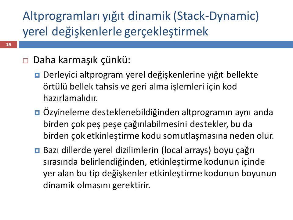 Altprogramları yığıt dinamik (Stack-Dynamic) yerel değişkenlerle gerçekleştirmek 15  Daha karmaşık çünkü:  Derleyici altprogram yerel değişkenlerine