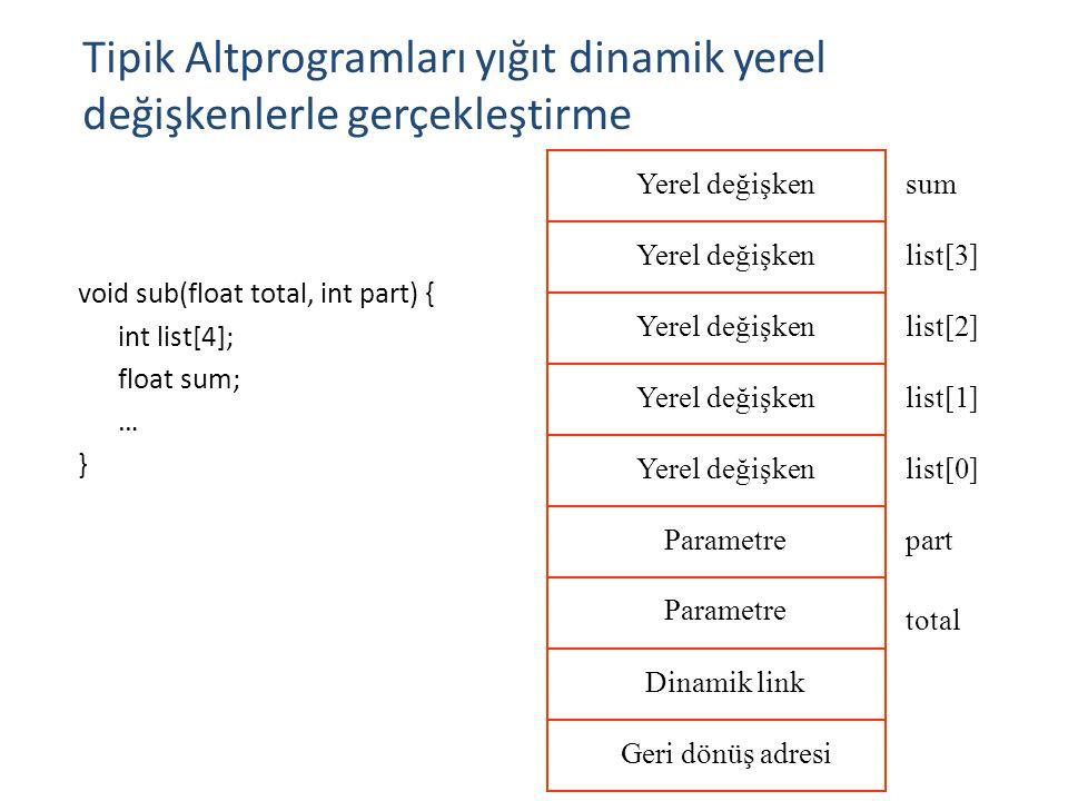 Tipik Altprogramları yığıt dinamik yerel değişkenlerle gerçekleştirme 17 void sub(float total, int part) { int list[4]; float sum; … } Parametre Dinam