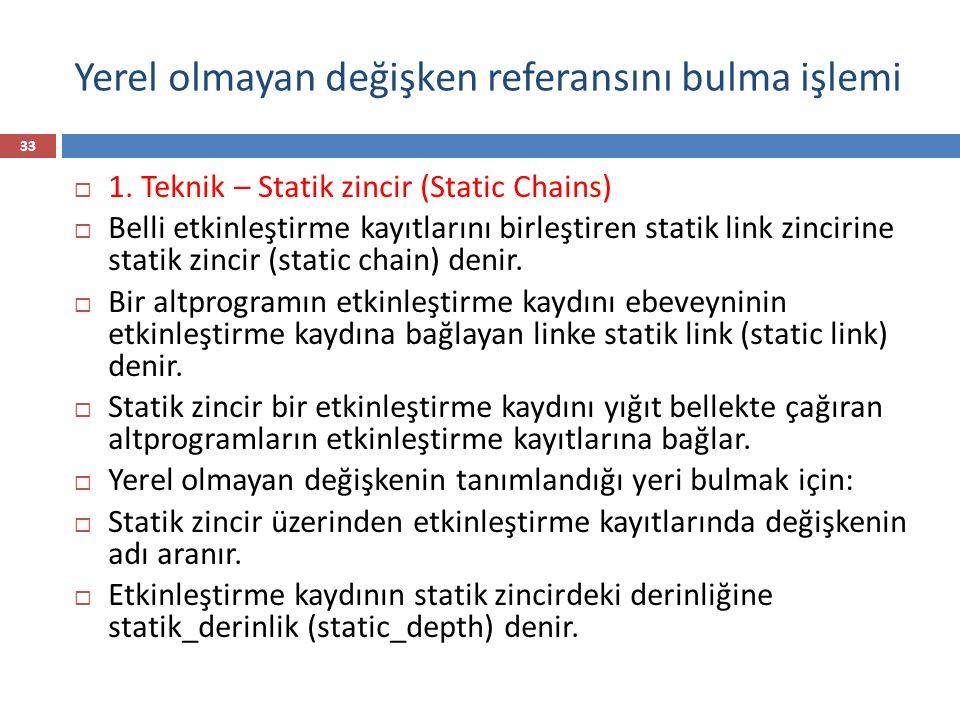 Yerel olmayan değişken referansını bulma işlemi 33  1. Teknik – Statik zincir (Static Chains)  Belli etkinleştirme kayıtlarını birleştiren statik li