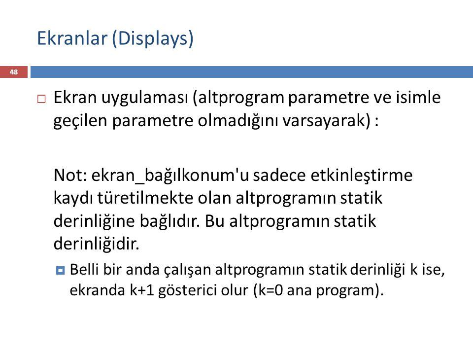 Ekranlar (Displays) 48  Ekran uygulaması (altprogram parametre ve isimle geçilen parametre olmadığını varsayarak) : Not: ekran_bağılkonum'u sadece et
