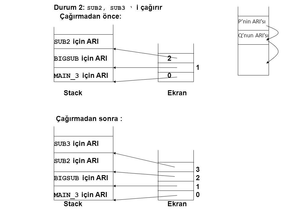 Durum 2: SUB2, SUB3 ' i çağırır Çağırmadan önce: SUB2 için ARI BIGSUB için ARI 2 1 MAIN_3 için ARI 0 StackEkran Çağırmadan sonra : SUB3 için ARI SUB2