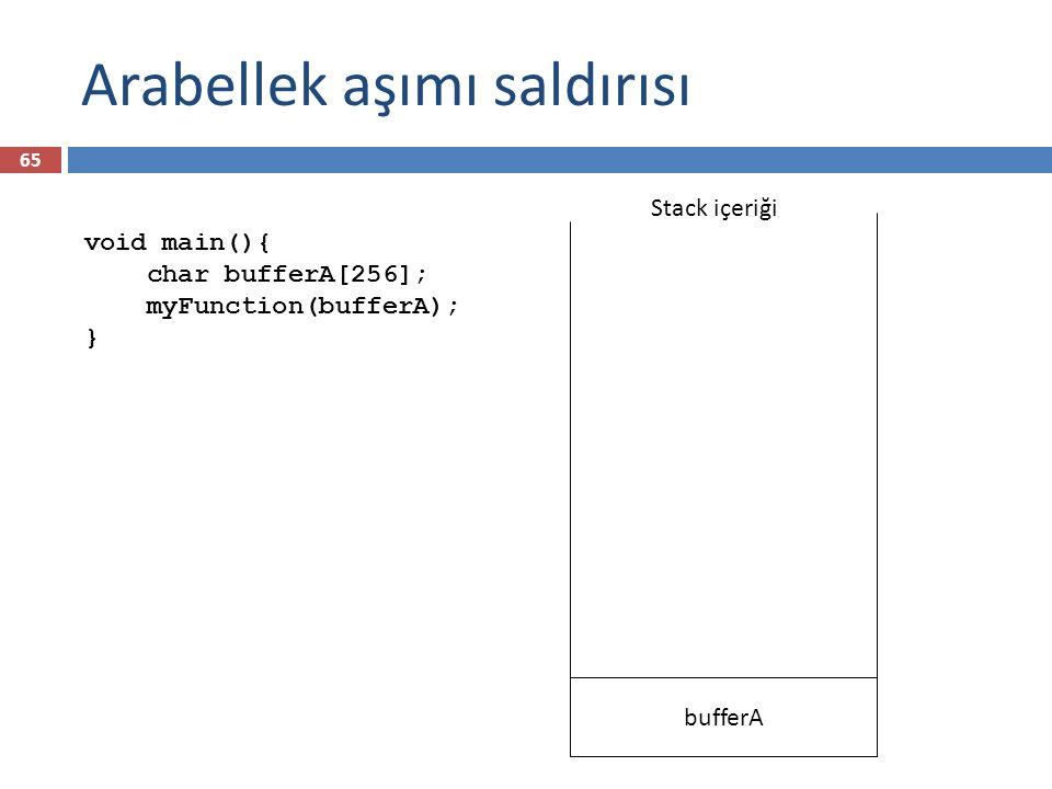 Arabellek aşımı saldırısı bufferA Main'e geri dönüş adresi Dinamik link Str bufferB Stack içeriği İşletim sistemi verisi void main(){ char bufferA[256]; myFunction(bufferA); } void myFunction(char *str) { char bufferB[16]; strcpy(bufferB, str); } 66