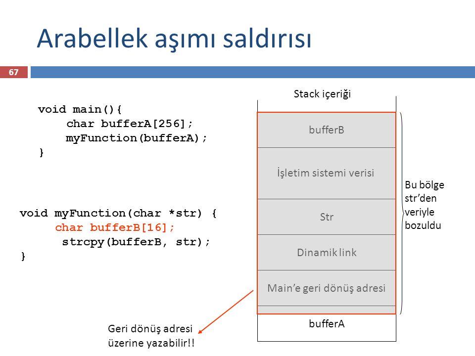 Arabellek aşımı saldırısı bufferA Stack içeriği Kötü niyetli Kod Yeni Adres str içeriği dikkatlice seçilirse, yazmış olduğumuz kodun bir kısmına dönüş adresini gösterebiliriz Sistem fonksiyon çağrısından döndüğünde zararlı kodu çalıştırarak başlayacaktır 68