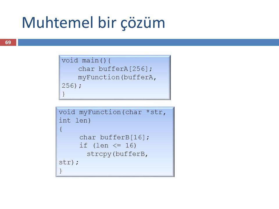 Muhtemel bir çözüm void main(){ char bufferA[256]; myFunction(bufferA, 256); } void myFunction(char *str, int len) { char bufferB[16]; if (len <= 16)