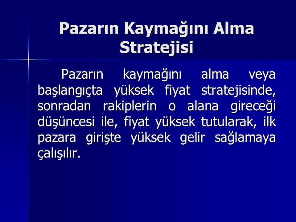 Pazarın Kaymağını Alma Stratejisi Pazarın kaymağını alma veya başlangıçta yüksek fiyat stratejisinde, sonradan rakiplerin o alana gireceği düşüncesi i