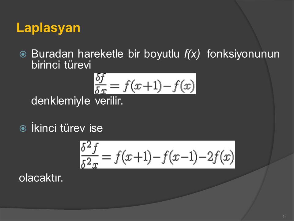 Laplasyan  Buradan hareketle bir boyutlu f(x) fonksiyonunun birinci türevi denklemiyle verilir.  İkinci türev ise olacaktır. 16