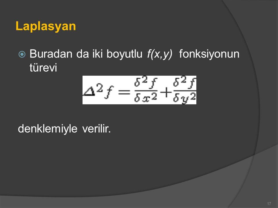 Laplasyan  Buradan da iki boyutlu f(x,y) fonksiyonun türevi denklemiyle verilir. 17