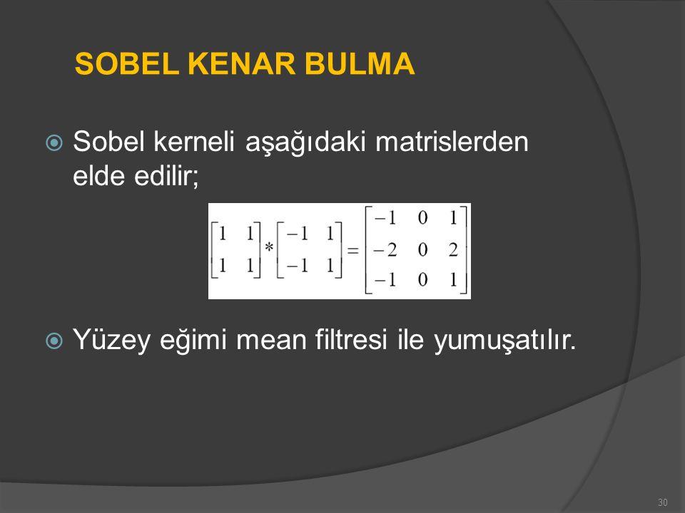  Sobel kerneli aşağıdaki matrislerden elde edilir;  Yüzey eğimi mean filtresi ile yumuşatılır. 30