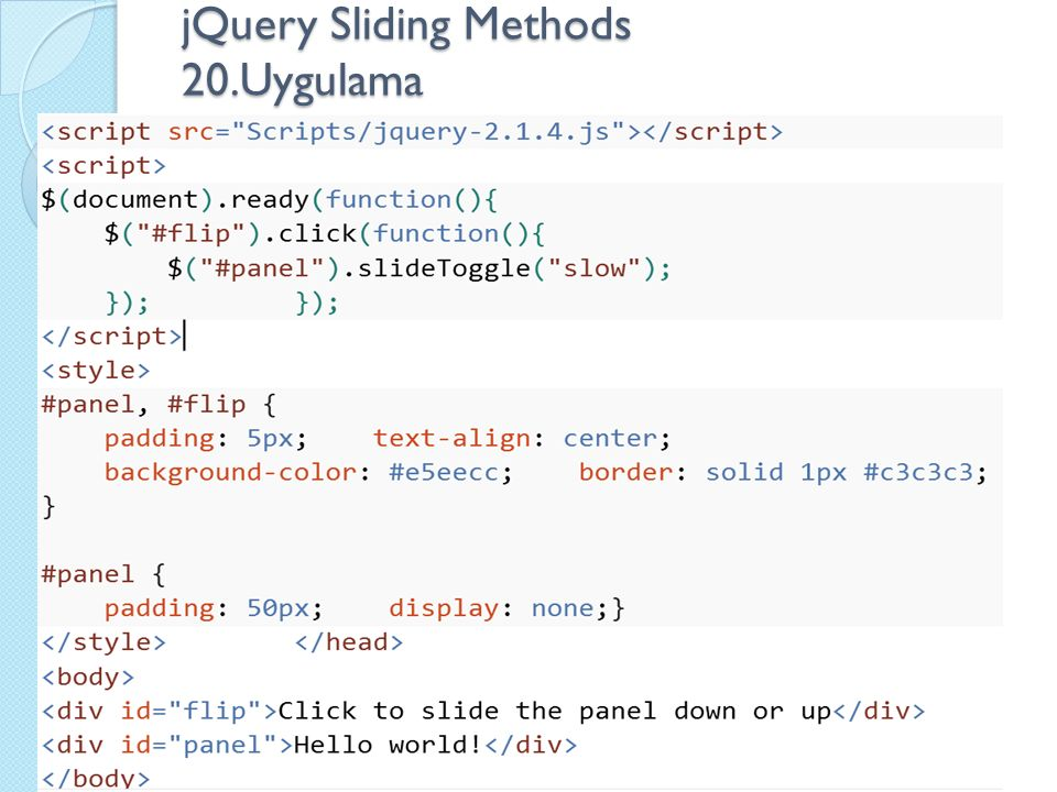 jQuery Sliding Methods 20.Uygulama