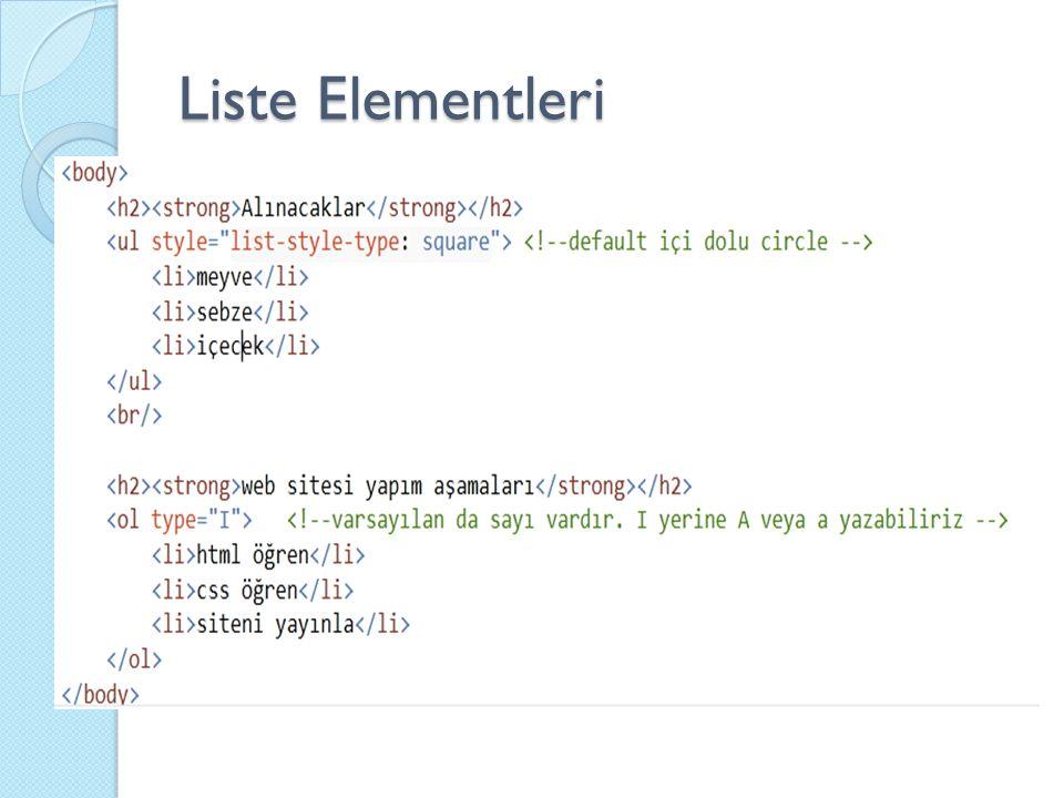Liste Elementleri