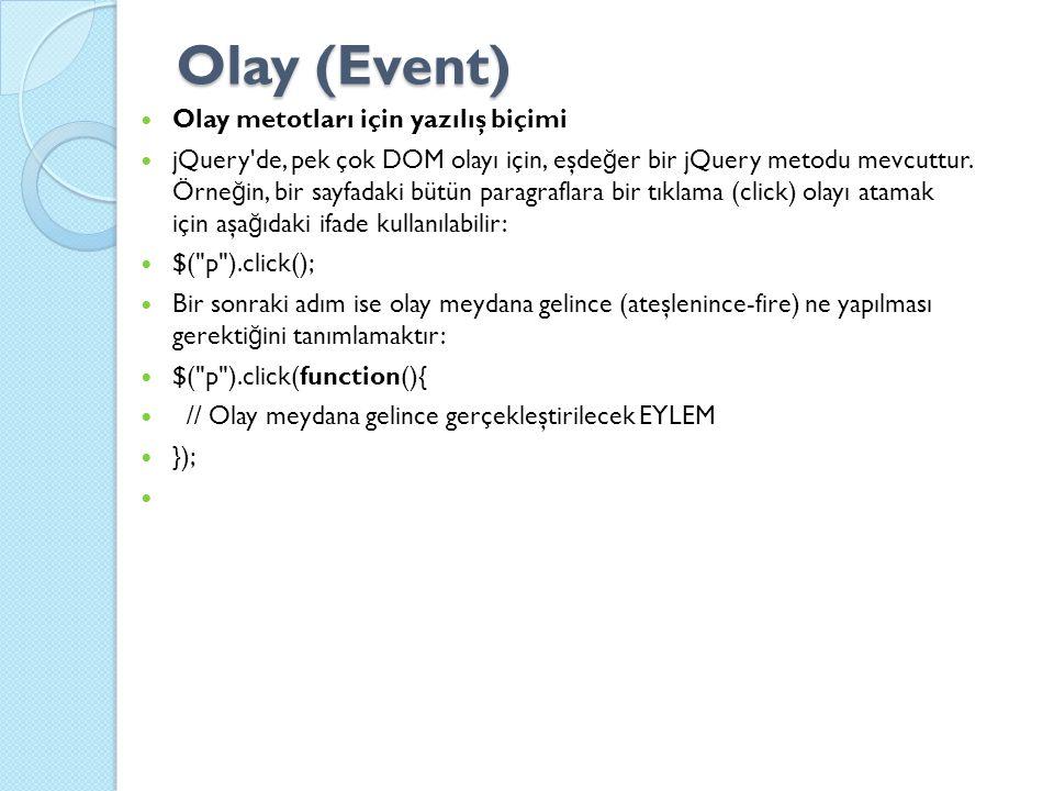 Olay (Event) Olay metotları için yazılış biçimi jQuery de, pek çok DOM olayı için, eşde ğ er bir jQuery metodu mevcuttur.