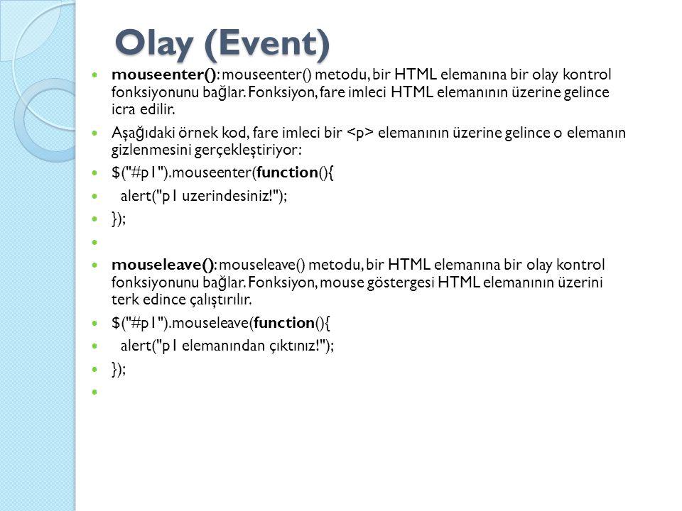 Olay (Event) mouseenter(): mouseenter() metodu, bir HTML elemanına bir olay kontrol fonksiyonunu ba ğ lar.