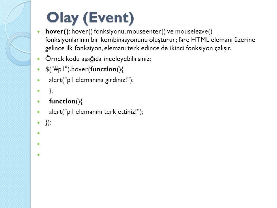 Olay (Event) hover(): hover() fonksiyonu, mouseenter() ve mouseleave() fonksiyonlarının bir kombinasyonunu oluşturur; fare HTML elemanı üzerine gelince ilk fonksiyon, elemanı terk edince de ikinci fonksiyon çalışır.