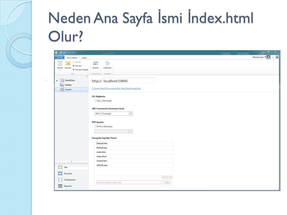 Neden Ana Sayfa İ smi İ ndex.html Olur