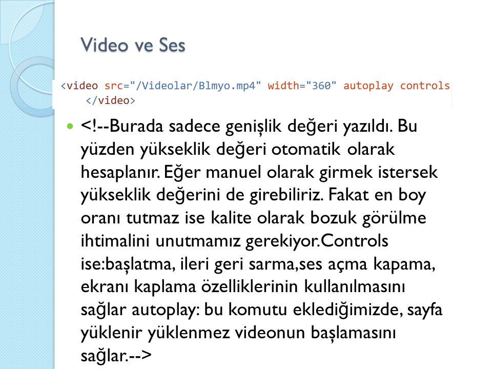 Video ve Ses
