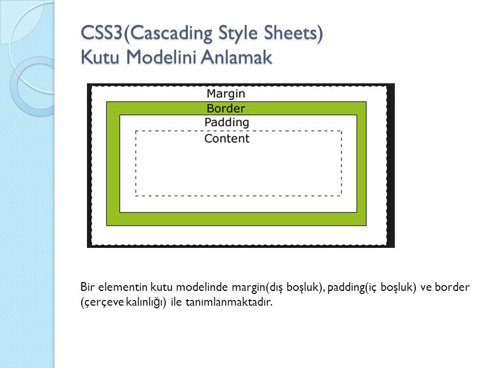 CSS3(Cascading Style Sheets) Kutu Modelini Anlamak Bir elementin kutu modelinde margin(dış boşluk), padding(iç boşluk) ve border (çerçeve kalınlı ğ ı) ile tanımlanmaktadır.