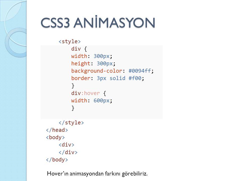 CSS3 AN İ MASYON Hover'ın animasyondan farkını görebiliriz.