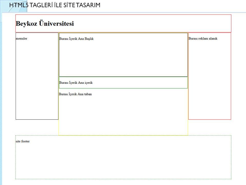 HTML5 TAGLER İ İ LE S İ TE TASARIM