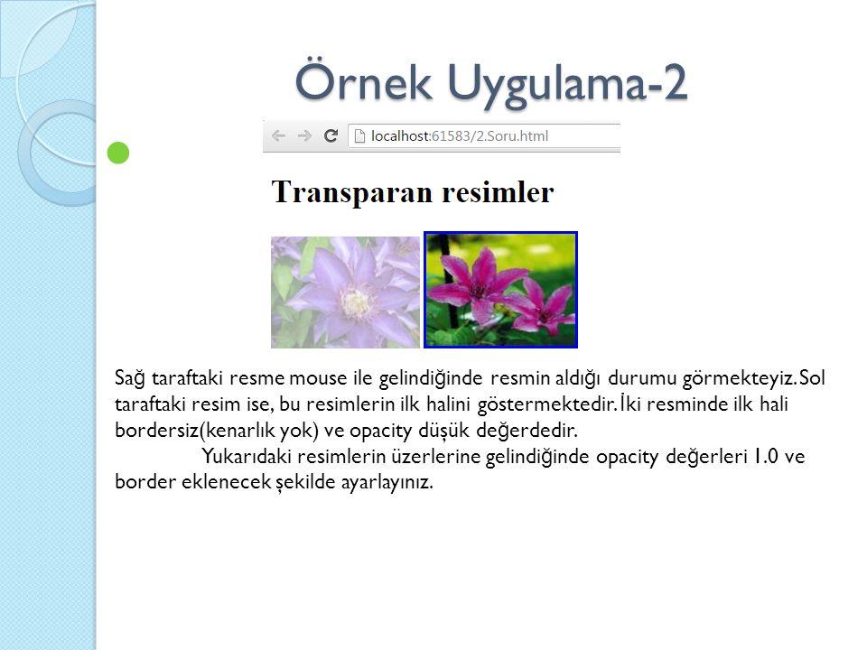 Örnek Uygulama-2 Sa ğ taraftaki resme mouse ile gelindi ğ inde resmin aldı ğ ı durumu görmekteyiz.