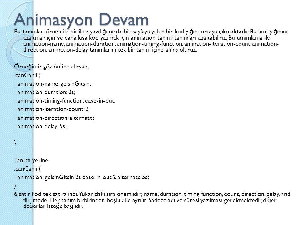 Animasyon Devam Bu tanımları örnek ile birlikte yazdı ğ ımızda bir sayfaya yakın bir kod yı ğ ını ortaya çıkmaktadır.