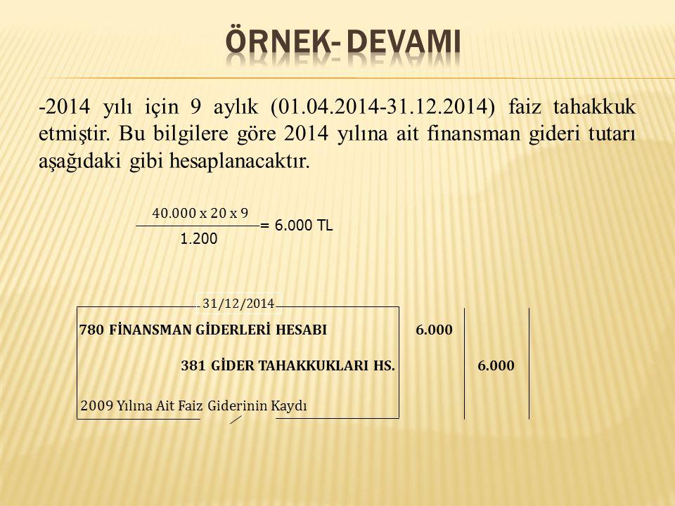 -2014 yılı için 9 aylık (01.04.2014-31.12.2014) faiz tahakkuk etmiştir. Bu bilgilere göre 2014 yılına ait finansman gideri tutarı aşağıdaki gibi hesap