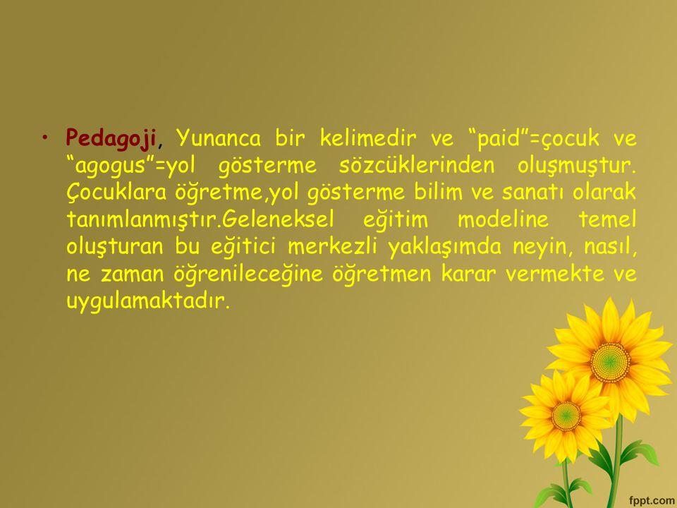 Pedagoji, Yunanca bir kelimedir ve paid =çocuk ve agogus =yol gösterme sözcüklerinden oluşmuştur.