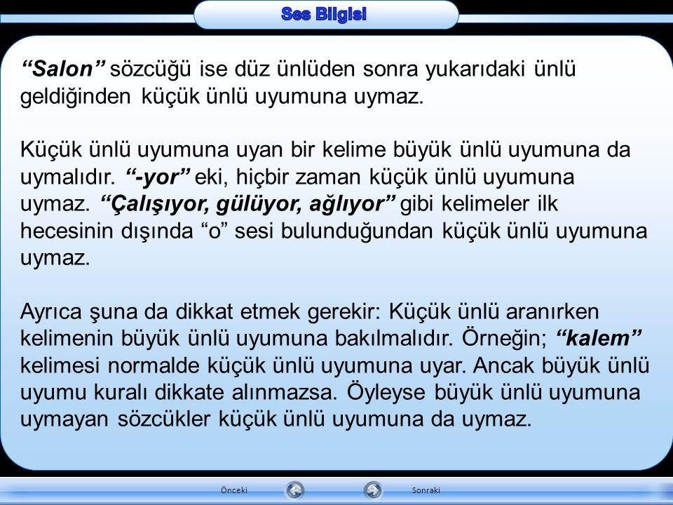 """b. Küçük ünlü uyumu : Türkçe bir sözcük düz ünlülerden biri ile başlamışsa, bu ünlülerden sonra gelen ünlüler de düz olmalıdır: Örneğin; """"tanımak"""" söz"""