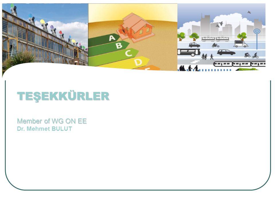 TEŞEKKÜRLER Member of WG ON EE TEŞEKKÜRLER Member of WG ON EE Dr. Mehmet BULUT